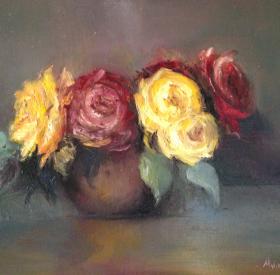 Roses in Wood Bowl