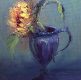 Sunflower in Old Tin Vase