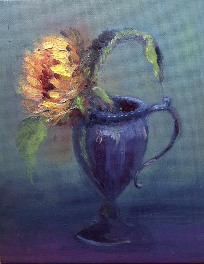 Sunflower in Old Tin Vase