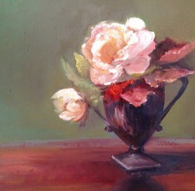 Two Roses Painting by Maryellen Vickery