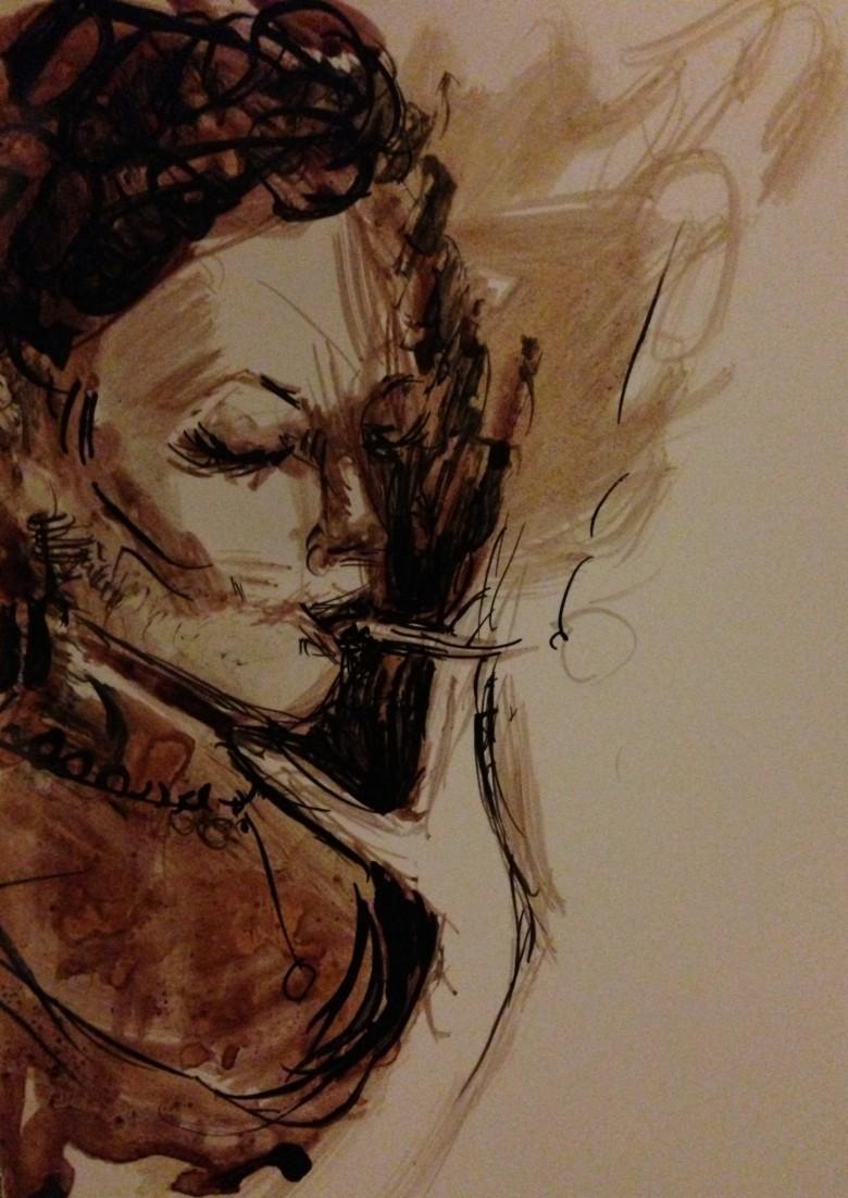 Girl Smoking Ink Illustration