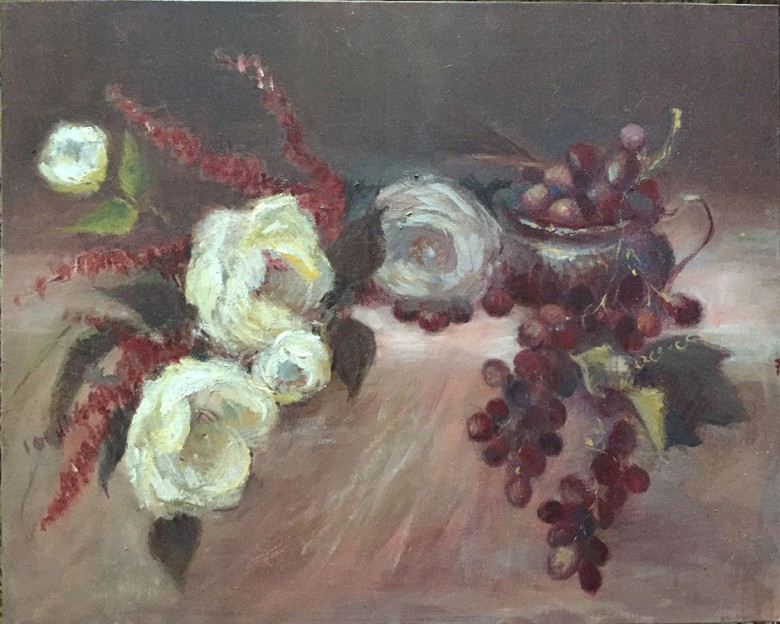 #2 White Roses & Grapes © Copyright Maryellen Vickery