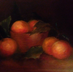 Oranges in a Wood Bowl by Maryellen Vickery