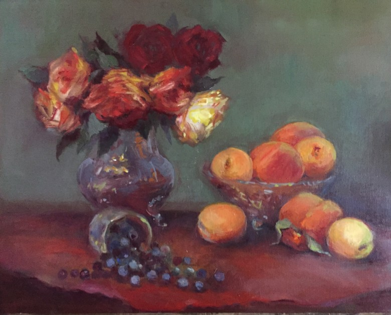Roses Peaches & Blueberries by Maryellen Vickery