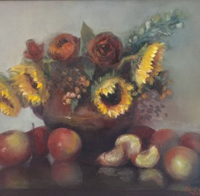 Sunflowers Apples & Roses by Maryellen Vickery