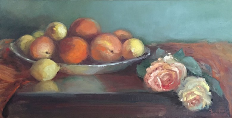 Two Roses & Fruit Platter by Maryellen Vickery